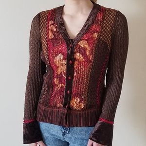 Alberto Makali unique brown gold & burgundy blouse